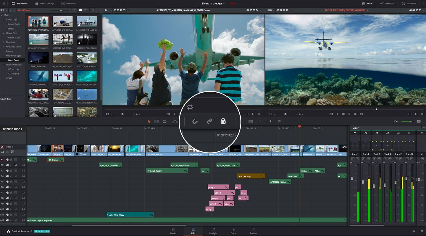 interface du logiciel davinci resolve