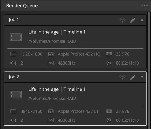 option fil d'attente du logiciel de montage video davinci resolve